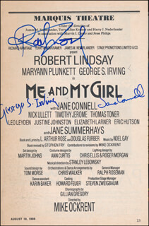 ME AND MY GIRL PLAY CAST - SHOW BILL SIGNED CO-SIGNED BY: ROBERT LINDSAY, GEORGE S. IRVING, JANE CONNELL