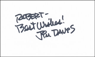 JIM DAVIS - AUTOGRAPH NOTE SIGNED