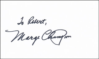 MARGE CHAMPION - INSCRIBED SIGNATURE
