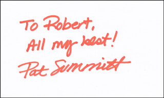 PAT SUMMITT - AUTOGRAPH NOTE SIGNED