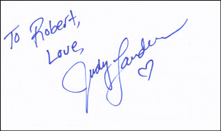 JUDY LANDERS - AUTOGRAPH NOTE SIGNED