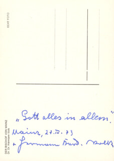 Autographs: HERMANN CARDINAL VOLK - AUTOGRAPH QUOTATION ON PICTURE POSTCARD SIGNED 03/24/1973
