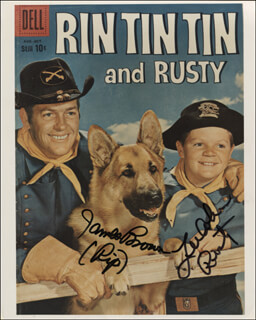 THE ADVENTURES OF RIN TIN TIN TV CAST - AUTOGRAPHED SIGNED PHOTOGRAPH CO-SIGNED BY: JAMES L. RIP BROWN, LEE AAKER