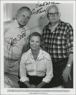 FIRESTARTER MOVIE CAST - AUTOGRAPH SENTIMENT ON PRINTED CARD SIGNED IN INK CO-SIGNED BY: ART CARNEY, LOUISE FLETCHER, GEORGE C. SCOTT