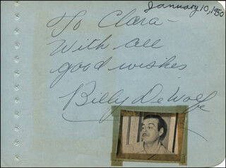 BILLY DE WOLFE - AUTOGRAPH NOTE SIGNED CIRCA 1950