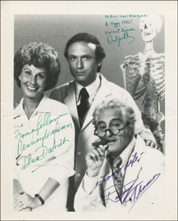 THE PRACTICE TV CAST - AUTOGRAPHED INSCRIBED PHOTOGRAPH 1983 CO-SIGNED BY: DENA DIETRICH, DAVID SPIELBERG, DANNY THOMAS