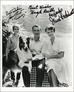 LASSIE TV CAST - AUTOGRAPHED SIGNED PHOTOGRAPH CO-SIGNED BY: JON PROVOST, JUNE LOCKHART, HUGH REILLY - HFSID 342064