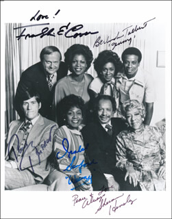 THE JEFFERSONS TV CAST - AUTOGRAPHED SIGNED PHOTOGRAPH CO-SIGNED BY: PAUL BENEDICT, SHERMAN HEMSLEY, ISABEL WEEZY SANFORD, FRANKLIN COVER, BERLINDA TOLBERT