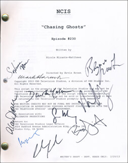 Autographs: NCIS TV CAST - SCRIPT SIGNED CO-SIGNED BY: DAVID McCALLUM, MARK HARMON, MICHAEL WEATHERLY, DONALD P. BELLISARIO, SEAN MURRAY, BRIAN DIETZEN, ALAN DALE, SOPHIA BROWN, BRIAN LECKNER