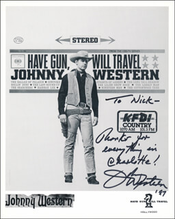 JOHNNY WESTERN - INSCRIBED PRINTED PHOTOGRAPH SIGNED IN INK 1997