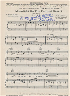 OLIVER DRAKE - INSCRIBED SHEET MUSIC SIGNED 1986