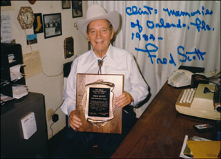 FRED L. THE SINGING BUCKAROO SCOTT - AUTOGRAPHED INSCRIBED PHOTOGRAPH 1984