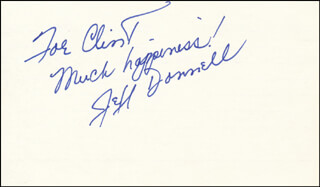 JEFF DONNELL - AUTOGRAPH NOTE SIGNED