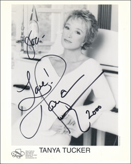 TANYA TUCKER - INSCRIBED PRINTED PHOTOGRAPH SIGNED IN INK 2000