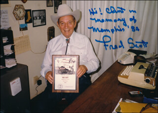 FRED L. THE SINGING BUCKAROO SCOTT - AUTOGRAPHED INSCRIBED PHOTOGRAPH