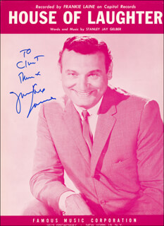 FRANKIE LAINE - INSCRIBED SHEET MUSIC COVER SIGNED