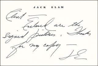 JACK ELAM - INSCRIBED PRINTED CARD SIGNED IN INK