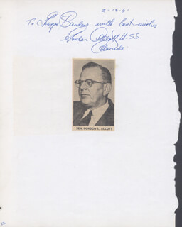 Autographs: GORDON LLEWELLYN ALLOTT - INSCRIBED SIGNATURE CIRCA 1961