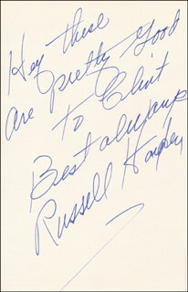 RUSSELL HAYDEN - AUTOGRAPH NOTE SIGNED