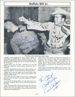 DICK JONES - PROGRAM PAGE SIGNED CO-SIGNED BY: GAIL DAVIS, HARRY LAUTER