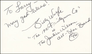 Autographs: 1910 FRUITGUM COMPANY (BILLY WOLFE) - AUTOGRAPH NOTE SIGNED 1996