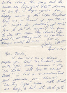 HOLLY BANON - AUTOGRAPH LETTER SIGNED 04/09/1987