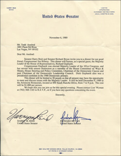 HARRY REID - TYPED LETTER SIGNED 11/06/1989 CO-SIGNED BY: GOVERNOR RICHARD H. BRYAN