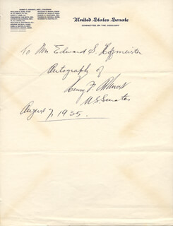 Autographs: HENRY F. ASHURST - INSCRIBED SIGNATURE 08/07/1935
