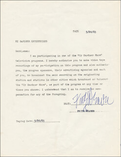 FRITZ WEAVER - TYPED DOCUMENT SIGNED 05/20/1965