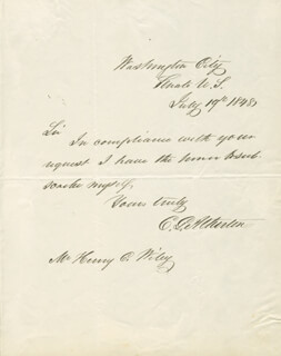 CHARLES GORDON ATHERTON - AUTOGRAPH NOTE SIGNED 07/19/1848