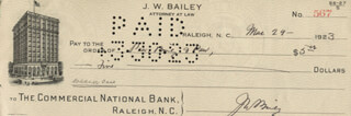 JOSIAH W. BAILEY - AUTOGRAPHED SIGNED CHECK 03/29/1923