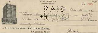 JOSIAH W. BAILEY - AUTOGRAPHED SIGNED CHECK 03/28/1923