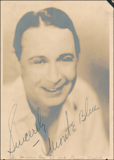 Autographs: MONTE BLUE - PHOTOGRAPH SIGNED CIRCA 1932