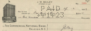 JOSIAH W. BAILEY - AUTOGRAPHED SIGNED CHECK 04/12/1923