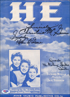 Autographs: MCGUIRE SISTERS, THE - SHEET MUSIC SIGNED CO-SIGNED BY: THE McGUIRE SISTERS (CHRISTINE McGUIRE), THE McGUIRE SISTERS (DOROTHY McGUIRE), THE McGUIRE SISTERS (PHYLLIS McGUIRE)