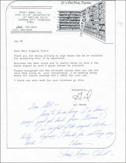 MARY HIGGINS CLARK - AUTOGRAPH LETTER SIGNED
