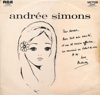 ANDRÉE SIMONS - INSCRIBED RECORD ALBUM COVER SIGNED