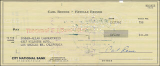 CARL REINER - AUTOGRAPHED SIGNED CHECK 02/27/1962