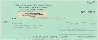 SUE CAROL LADD - AUTOGRAPHED SIGNED CHECK 07/10/1972