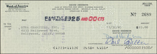 DAVID HEDISON - AUTOGRAPHED SIGNED CHECK 12/31/1967