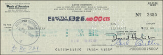 DAVID HEDISON - AUTOGRAPHED SIGNED CHECK 12/14/1967