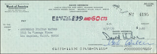 DAVID HEDISON - AUTOGRAPHED SIGNED CHECK 08/27/1970