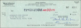 DAVID HEDISON - AUTOGRAPHED SIGNED CHECK 09/30/1970