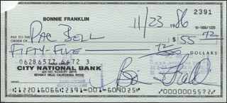 BONNIE FRANKLIN - AUTOGRAPHED SIGNED CHECK 11/23/1986