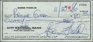 BONNIE FRANKLIN - AUTOGRAPHED SIGNED CHECK 11/30/1986