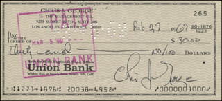 CHRISTOPHER GEORGE - AUTOGRAPHED SIGNED CHECK 02/27/1969