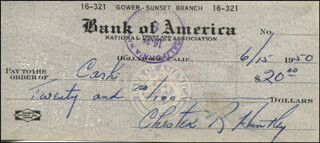 CHET HUNTLEY - AUTOGRAPHED SIGNED CHECK 06/15/1950