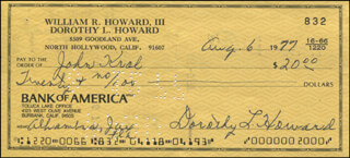 DOROTHY LAMOUR - AUTOGRAPHED SIGNED CHECK 08/06/1977