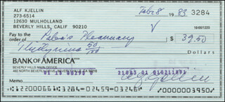 ALF KJELLIN - AUTOGRAPHED SIGNED CHECK 02/08/1983