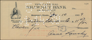 ANNE LANSKY - AUTOGRAPHED SIGNED CHECK 01/10/1939  - HFSID 342424